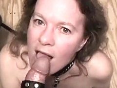 Leashed woman being cum on apologise