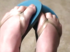 Girl Showing off Her Flip Flops remixed