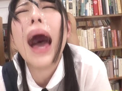 Jav Aoi Rena Gets Multiple Bukkake Face While Being Fucked In The Library With Other Students Work.
