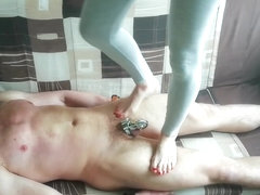Trample slave in chastity belt