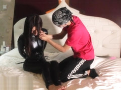 asian bit gagged in latex catsuit