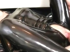 Blonde slut in catsuit gagged and fucked
