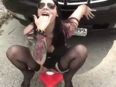 Prolapse Ass to mouth in public with traffic pilon and squirting