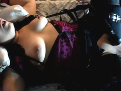 Tied Up Teen Tortured With Wand & Cucumber. Multiple Loud Squirting orgasms