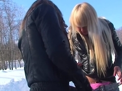 Partying angels in engulfing and hawt college fucking on snow