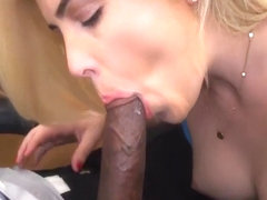 Blonde tries out for porn with BBC
