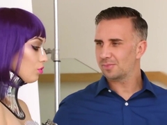 Purple Haired Model Gets Fucked By Her Very Horny Client