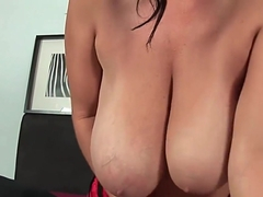 Sultry milf with big tits fucks herself with two dildos