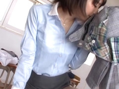 Airi Suzumura hot Japanese teacher enjoys solo pussy play