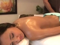 Raven haired cutie Amia Miley gets massaged