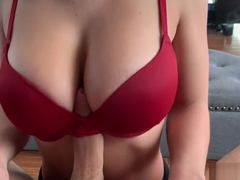 Titty fuck and Cum in my new bra
