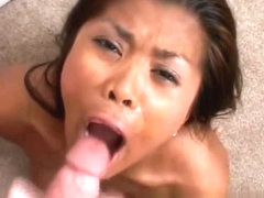 Asian slut gives blowjob and swallow part1