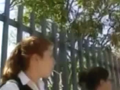 Lovely schoolgirl upskirt on her teen ass