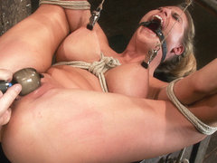 Sexy Blond Bomb Shell W/Huge Tits, Is Anally Penetrated, Nipple Tortured, Made To Squirt  Cum - Ho.