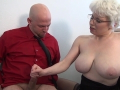 Brutal femdom handjob in office from busty MILF
