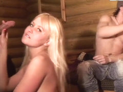 Slutty classmate bitches celebrating the passing of exams in the sauna
