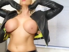 lucy z teasing in leather