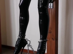 Perched Pet in Black Latex and Toe Boots