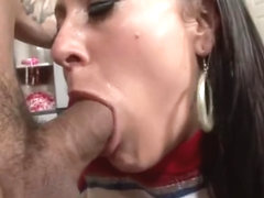 Big Fat Cock Inviting Brunette Cheerleader In Uniform Gives Blowj