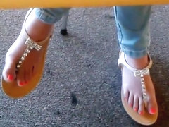 Candid asian college girl library feet in sandals face hd