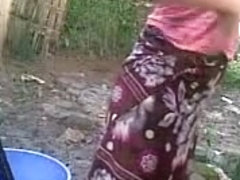 Bangla desi shameless village friend-Nupur bathing outdoor
