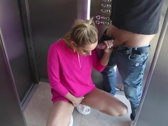 Public Sex in the Elevator ! Sucked Cock, Fucked and Swallowed Cum!
