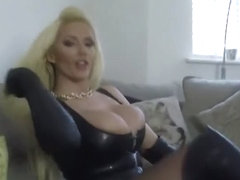 lady in leather and latex teasing
