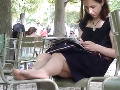 Candid Nylon Shoeplay in the Park