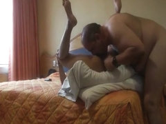 Fat old guy fucks a sexy escort slut at the hotel