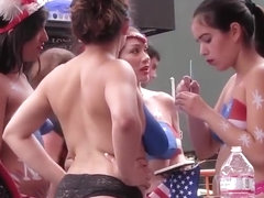 3 topless girls bodypaint each others tits