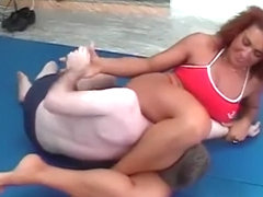 Tanned fitness woman beats him down