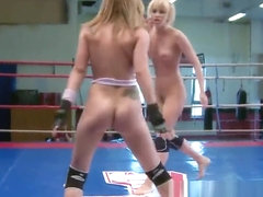 Wrestling euro dykes finger each other
