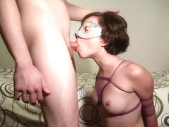 Cute tied up girl gets rough sloppy throat fuck and cum in mouth