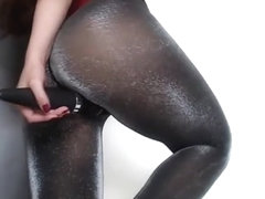 Ass in shiny pantyhose