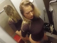 Girl masturbates naked and moans in store dressing room