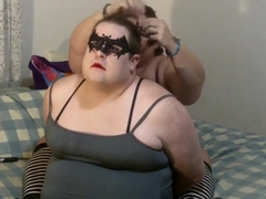 Chubby feminized sissy in pigtails bound & licks BBW pussy multiple orgasms