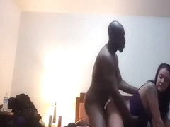 Black stud rams a dirty white milf hard on camera