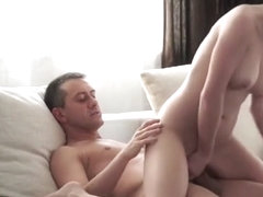 European glam babe bounces on bigcock