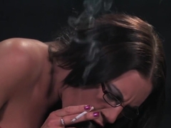 Hot Babe in Red Smokes and Fucks a BBC-part 1