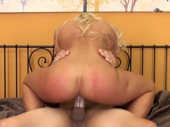 Blonde hottie Cali Carter does herself until a dick cums and does it for her