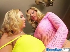 Two horny blondes get cluster fucked.