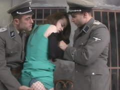 Redhead DP fucked by two soldier cocks