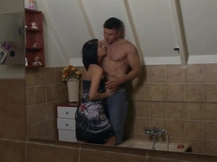 Outstanding cock-licking in the bathroom
