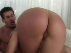 Buxom blonde with a mesmerizing ass gets her juicy holes roughly drilled on the sofa