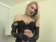 Juicy femdom spitting and hard faceslapping session