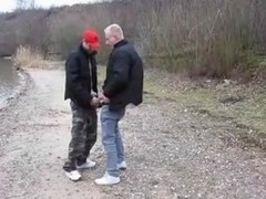 Daddy and younger boy fucking outdoors