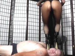Sexy blonde face and chest trampling in boots