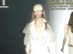 Fashion models tit-jiggling on the catwalk