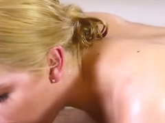 Abby Cross Blonde Masseuse Sucking Cock Bathroom