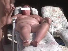 mature couple garden fuck